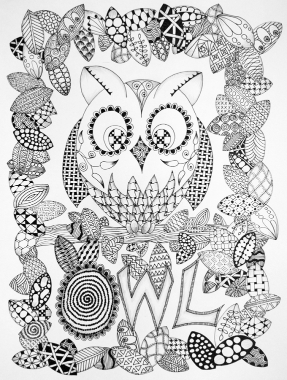 Owl and Butterflies in Zentangle